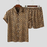 Men's Leopard Printed Short Sleeve Shirt & Shorts Caribbean Beach Shorts African Collection