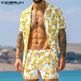 Short Sleeve Button Shirt & Shorts Casual Mens Suit 2 Pieces Caribbean Beach Collection