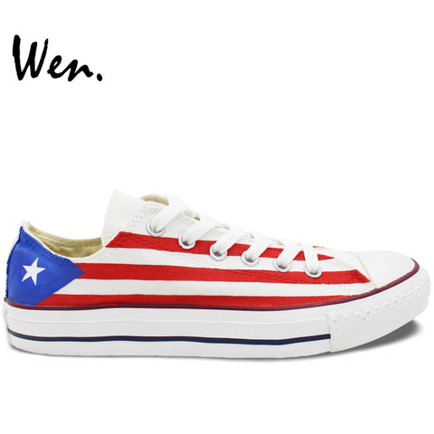 Hand Painted Sneakers Puerto Rico Flag Men Women's Low Canvas Show Accessory