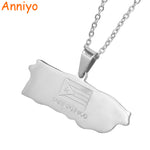 Puerto Rico Map Pendant Necklaces Jewelery Stainless Steel