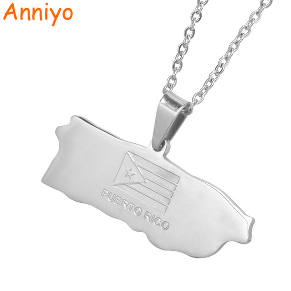 Map of Puerto Rico Pendant Necklaces Jewelery Stainless Steel