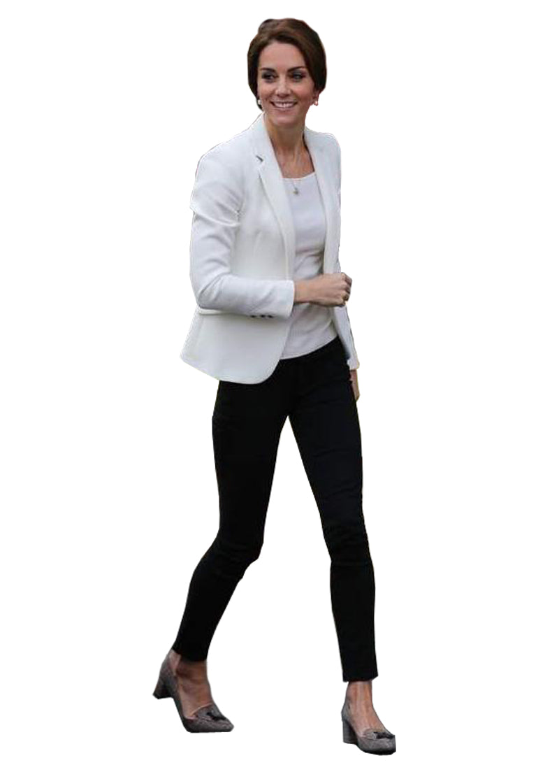 Kate Open Front Smart Casual White Blazer