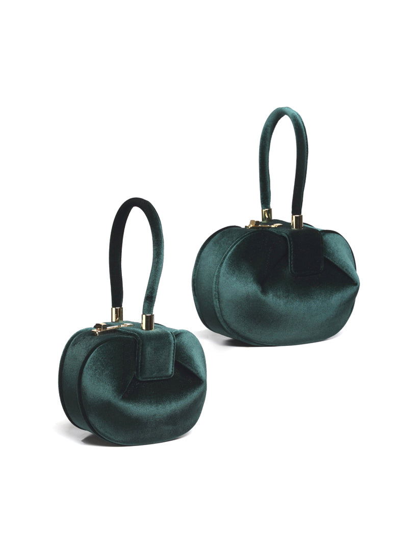 Meghan Sculptural Velvet Tote Bag in Emerald Green