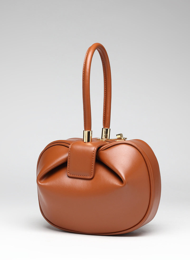Meghan Sculptural Leather Tote Bag in Tan