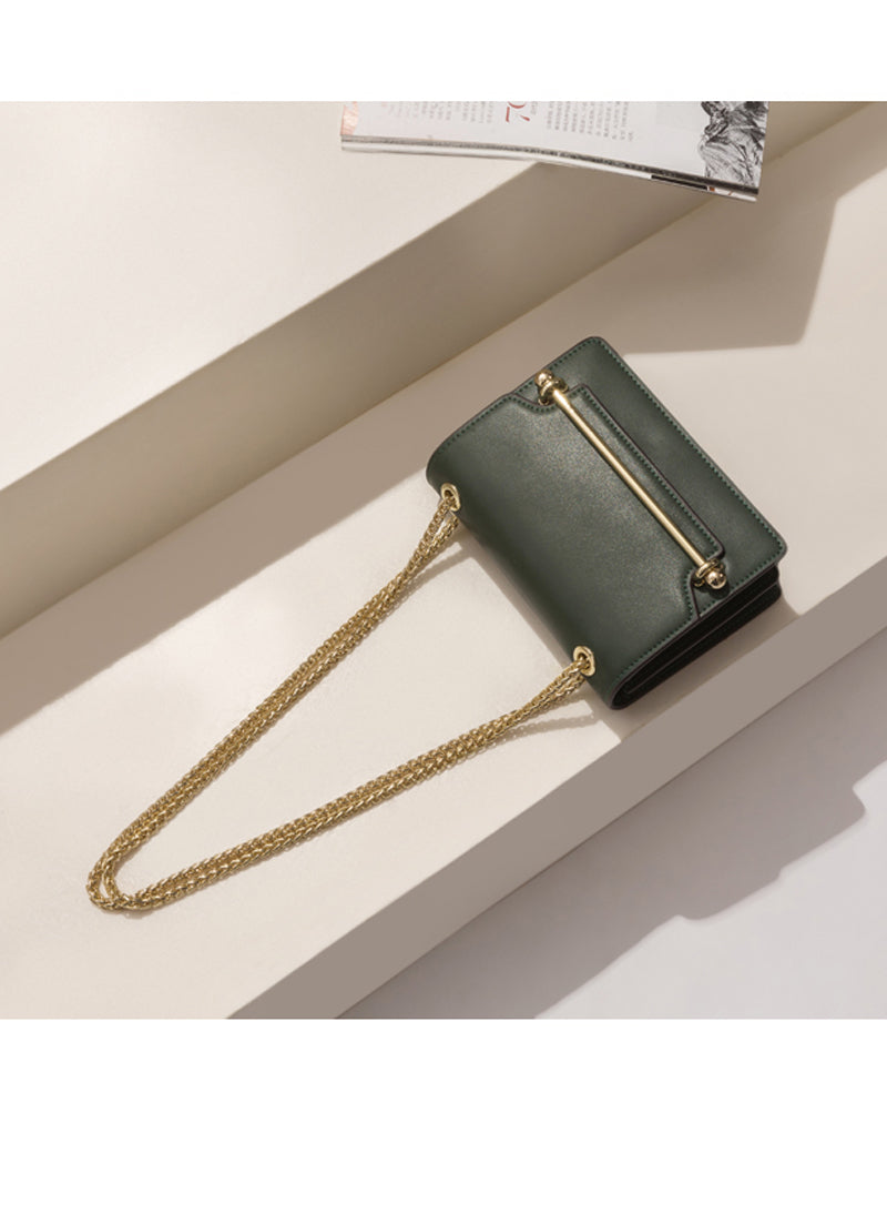 Meghan Structured Leather Mini Crossbody Bag in Green
