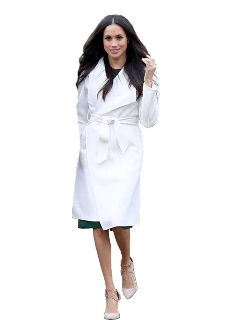 Meghan Classic Wide Collar Wrap Coat in White