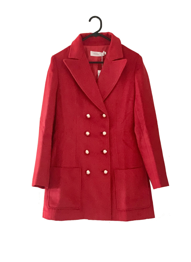 Kate Gold Button Double-breasted Blazer Coat in Red