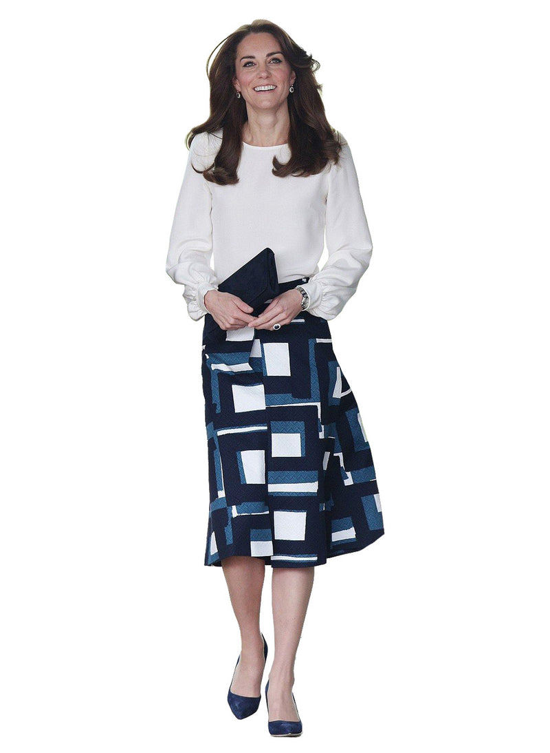 Kate Puffy White Blouse & Geo Print A-line Skirt Set