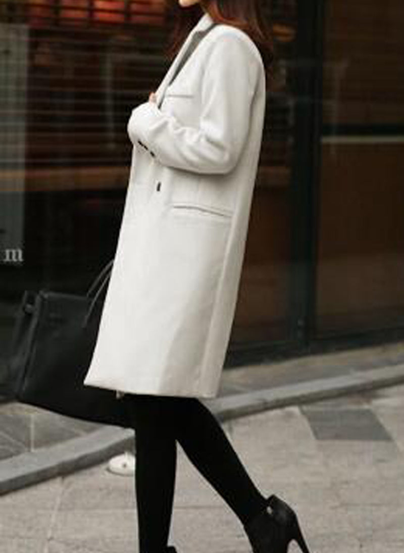 Meghan Wool Blend Single-breasted Coat in Off White