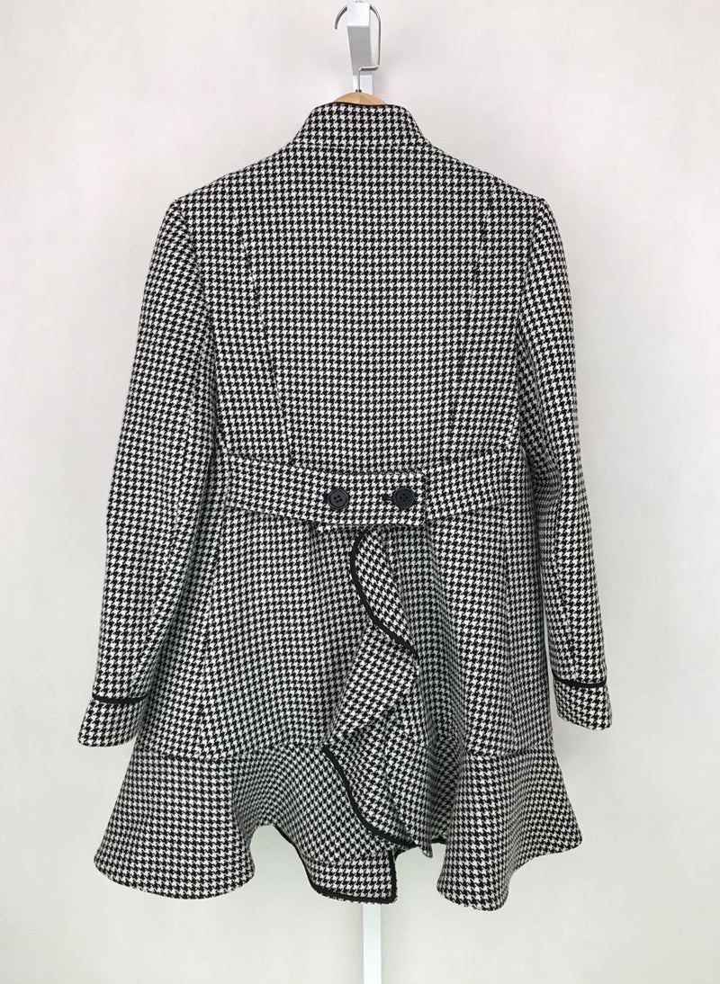 Pippa Middleton Ruffle-detailed Wool Houndstooth Caban Coat