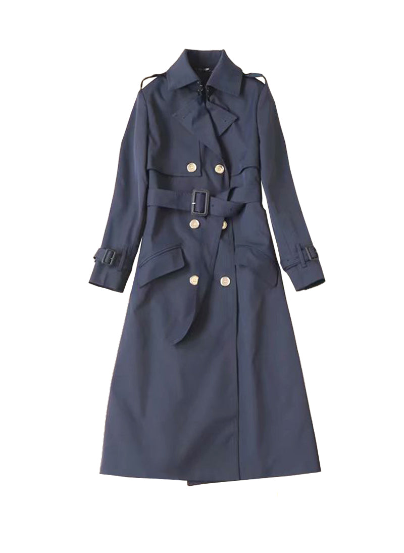 Kate Double Breasted Classic Trench Coat in Navy