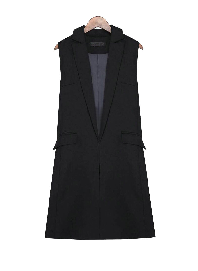 Princess Mary Longline Vest Jacket in Black