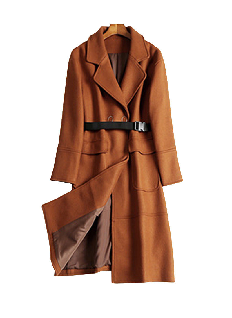 Meghan Inspired Toffee Long Wool Coat With Belt