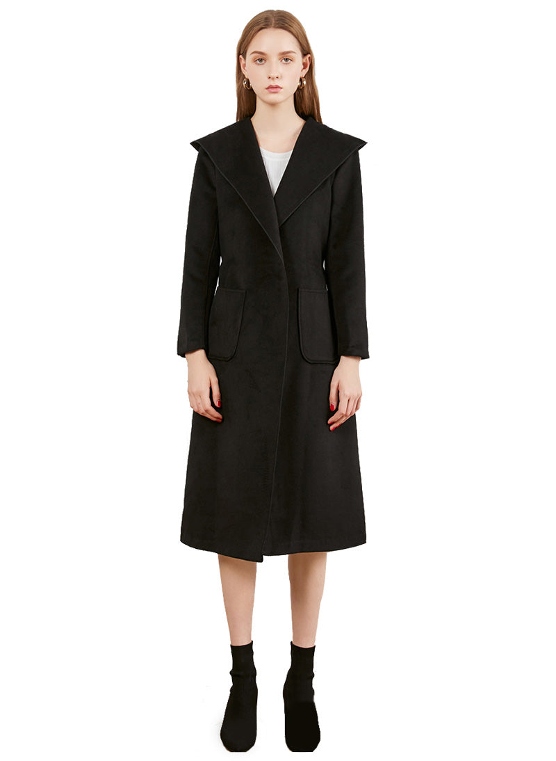 Meghan Inspired Cashmere Long Hooded Wrap Coat in Black