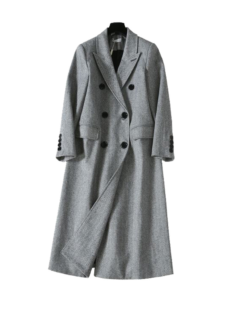 Meghan Inspired Military Style Double Breasted Coat in Gray