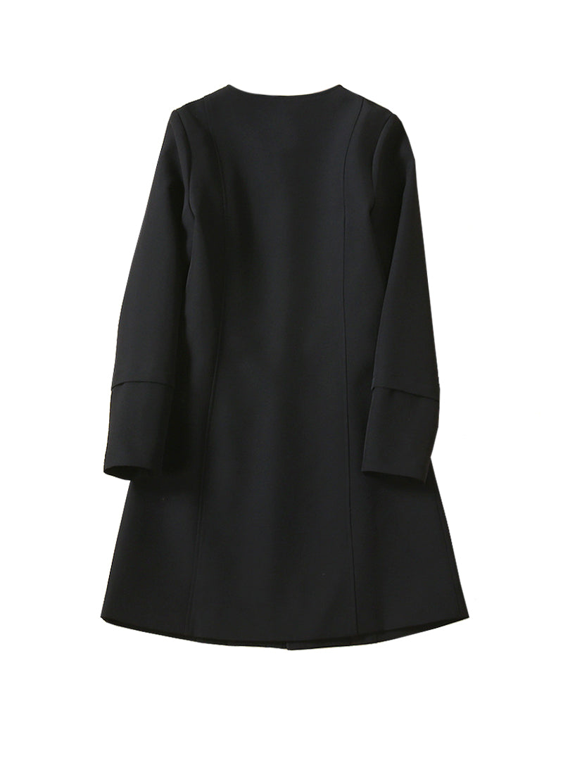 Queen Letizia Collarless Mid-Lenth Cocoon Coat in Black