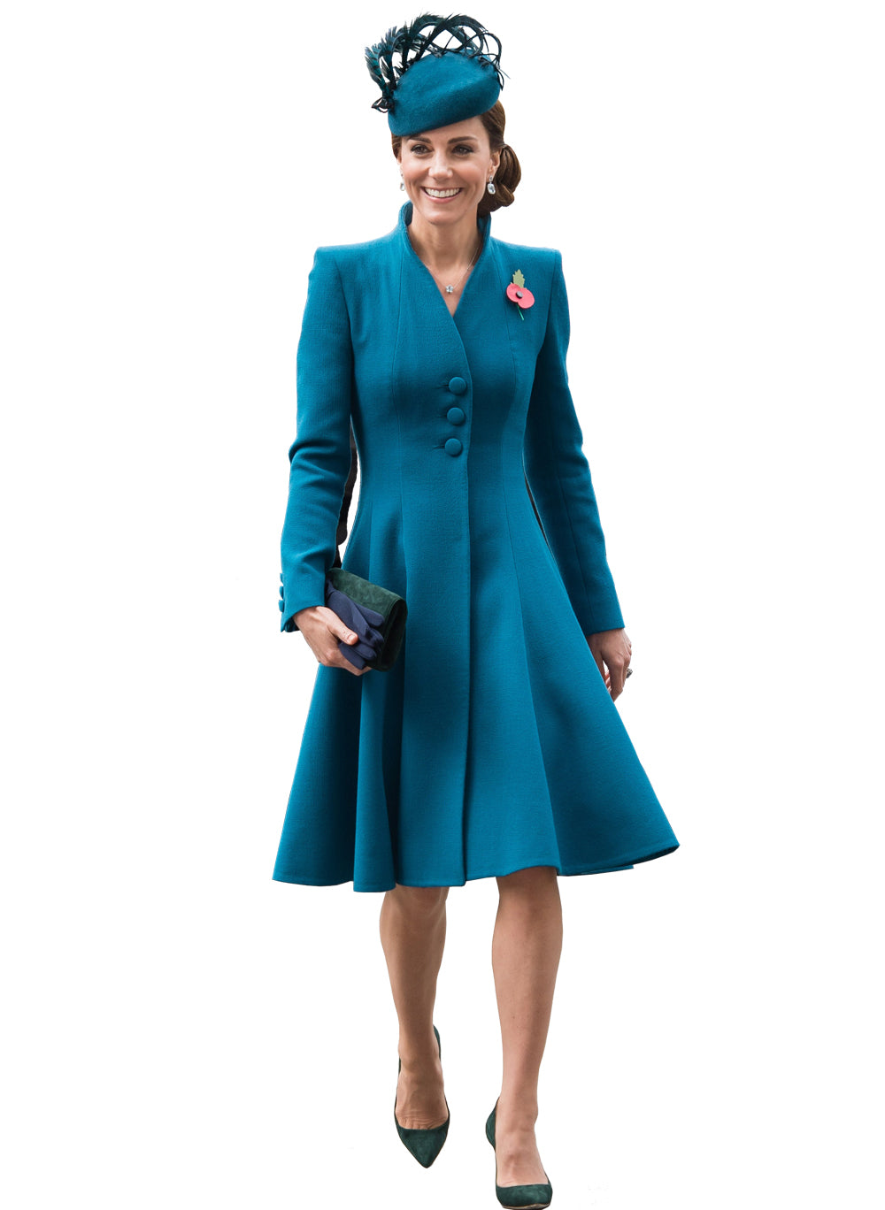 Kate Swan-Neck Fit And Flare Midi Dress Coat in Teal