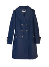 Meghan Military Style Double Breasted Wool Coat in Navy
