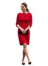 Kate Wide Neck Little Red Pencil Dress with 3/4 Sleeve