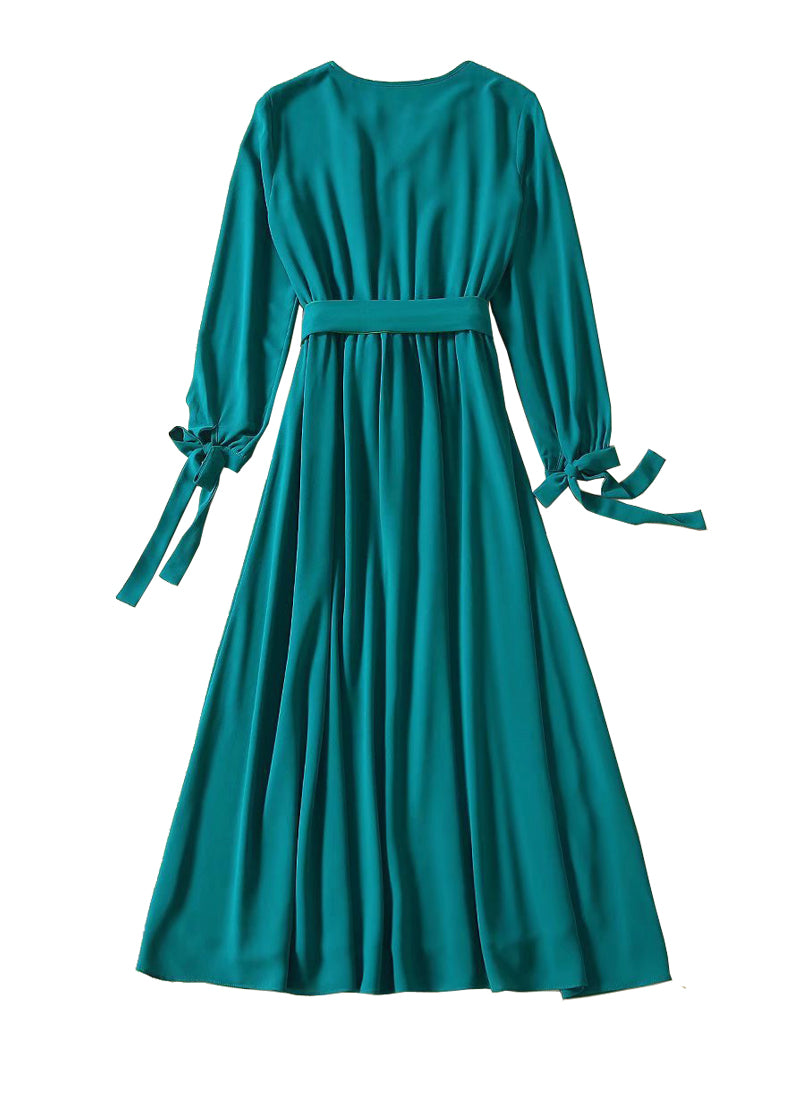 Kate Vintage Silk-Georgette Belted Maxi Silk in Green