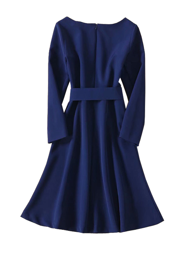 Kate Belted Fit and Flare A-line Dress in Dark Blue