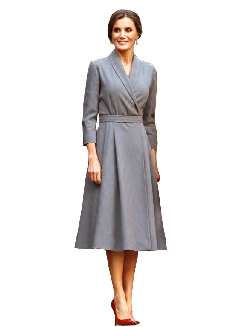 Queen Letizia Fit-and-Flare Grey Wrap Dress