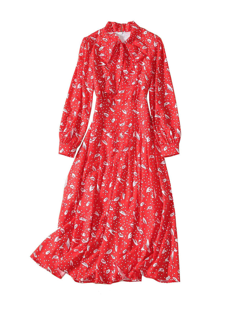 Kate Padded Shoulder Polka Dot Print Midi Dress in Red