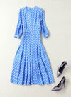 Kate Inspired Embellished Blue Polka Dot Crepe Midi Dress