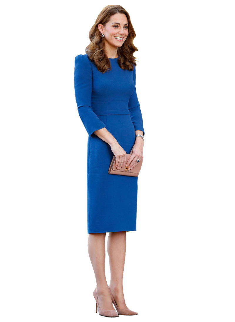 Kate Royal Blue Puffed Shoulder Sheath Midi Dress