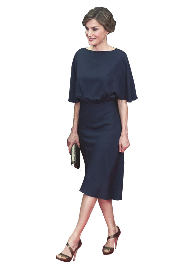Queen Letizia Dolman Sleeve A-line Midi Cape Dress in Navy