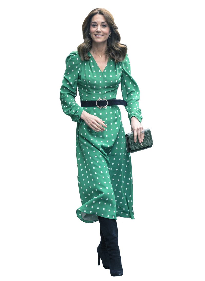 Kate High Waist Green Polka Squares A-line Midi Dress