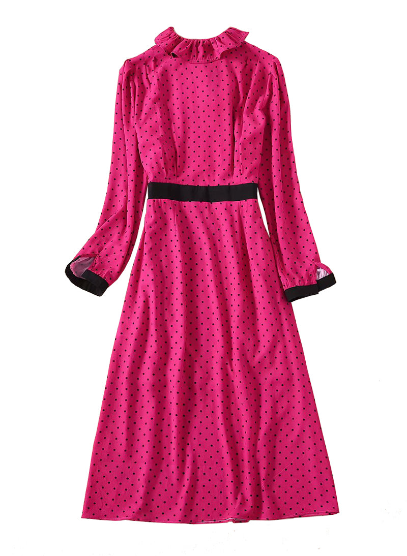 Kate Slim-Fit Ruffled Neck Polka Dot Midi Dress in Pink