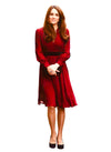 Kate V-neck Contrast Waist Flared Dress in Red