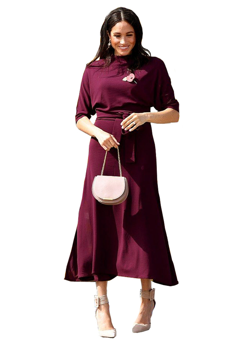 Meghan High Neck Slit Belted Midi Dress in Burgundy