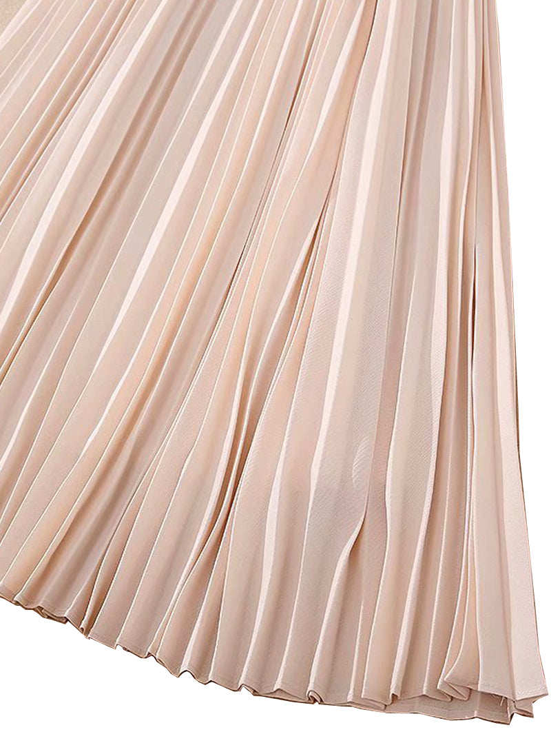 Queen Letizia Keyhole Flared Pleated Midi Dress in Pastel Pink