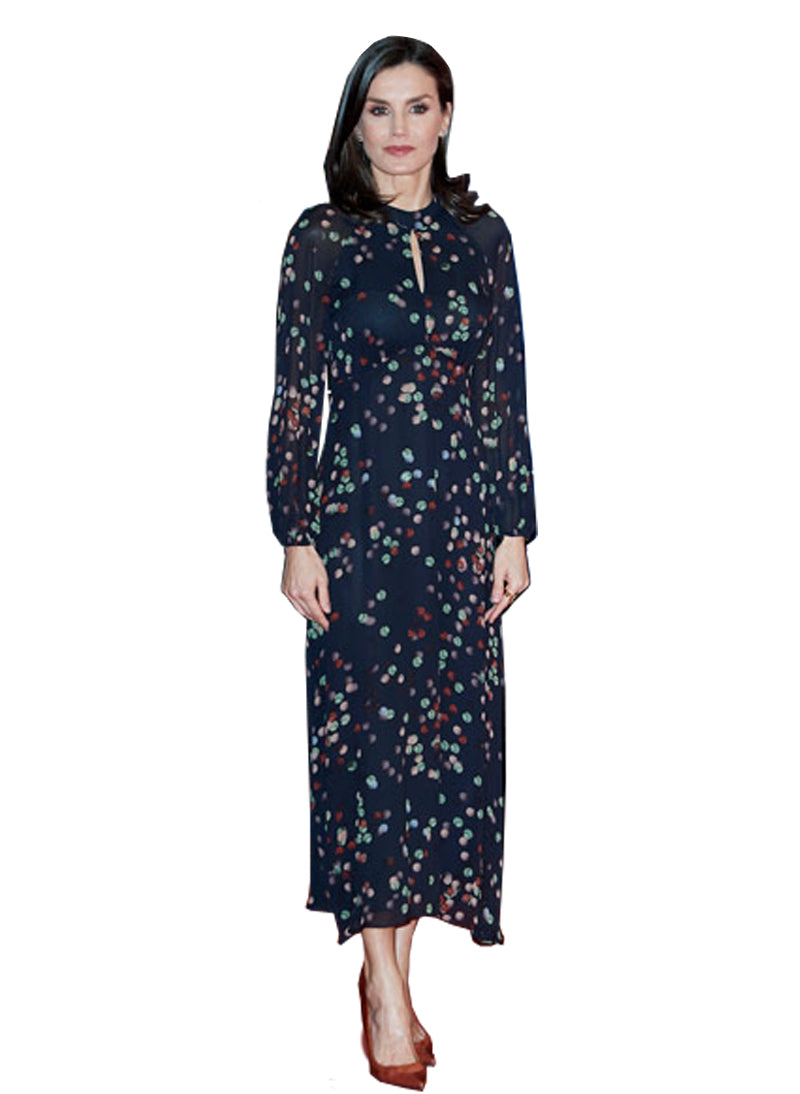 Queen Letizia Keyhole Balloon Sleeve Midi Dress in Confetti Print