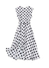 Queen Letizia Sleeveless V-neck Flared Midi Dress in Polka Dot