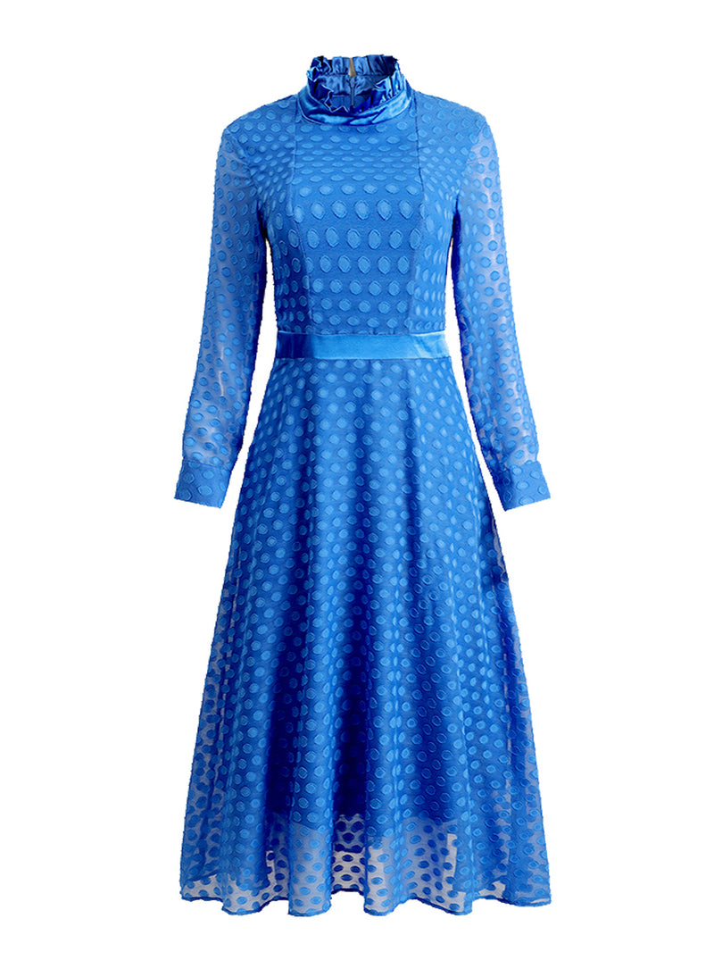 Kate High Ruffled Neck Polka-dot Jacquard Midi Dress in Blue