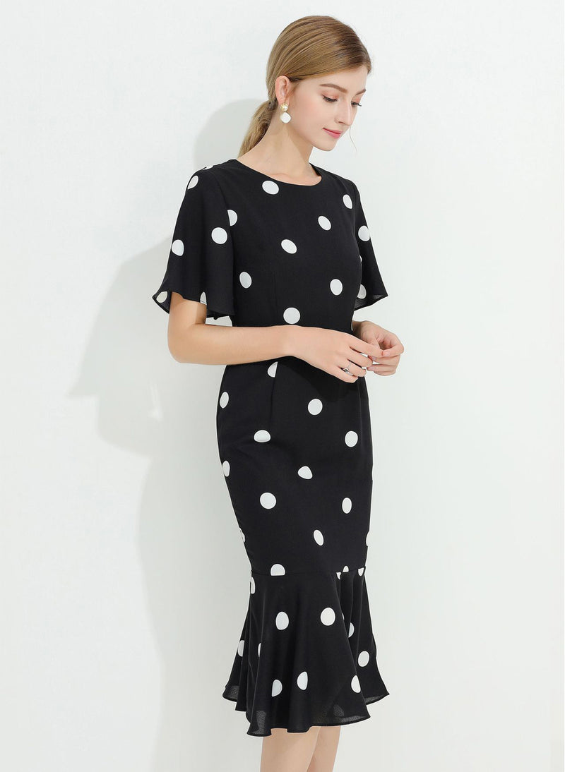 DOAB Polka Dot Print Flutter Sleeve Fishtail Midi Dress