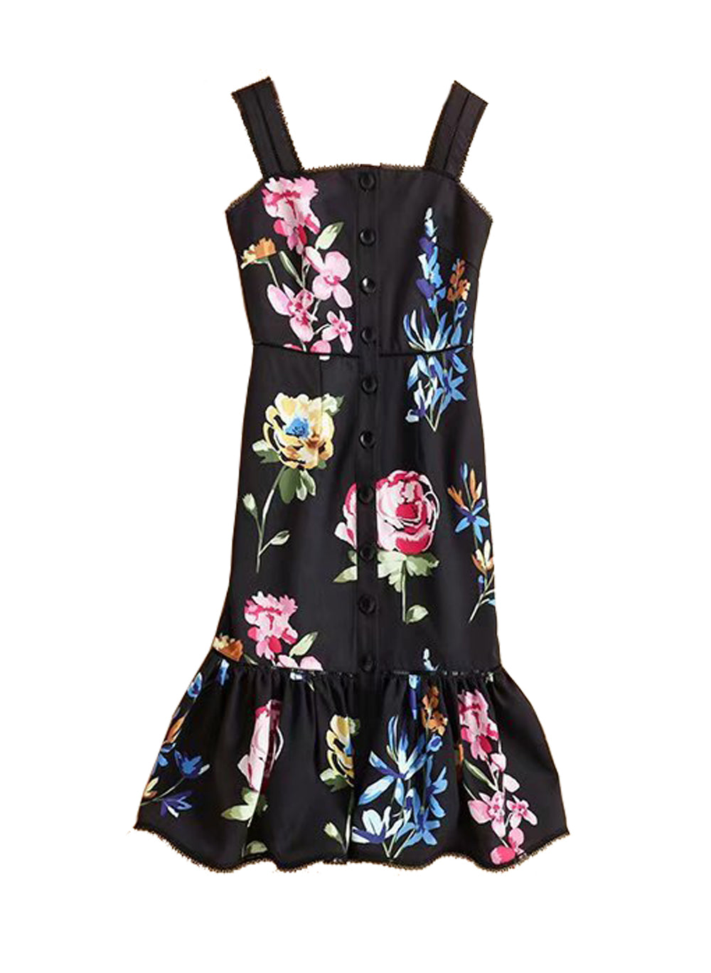 DOAB Floral Square Neck Strappy Frill Hem Midi Dress