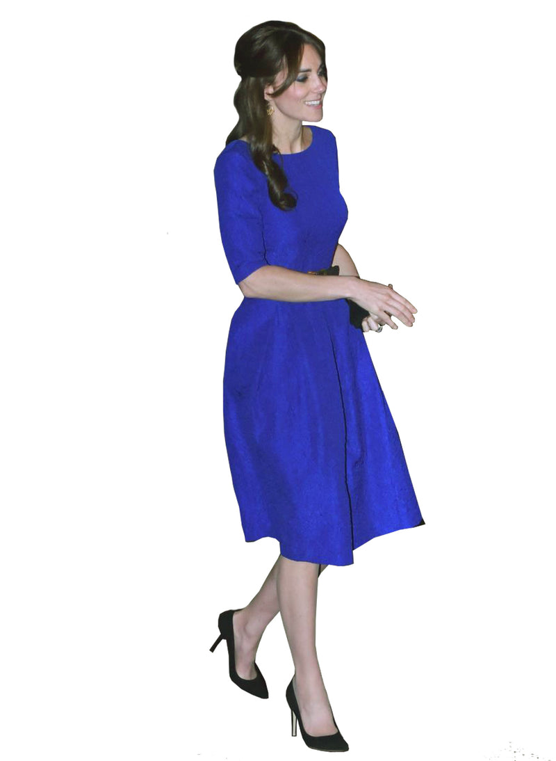 Kate Capped Sleeve Belted Skater Midi Dress in Royal Blue