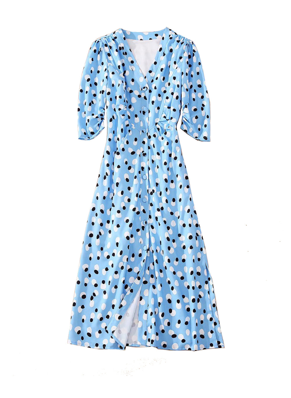 Kate V-neck Button-Front Side Slit Midi Dress in Blue Polka Dot
