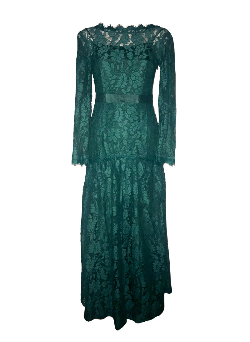 Kate Green Floral Lacy Body-hugging Maxi Dress