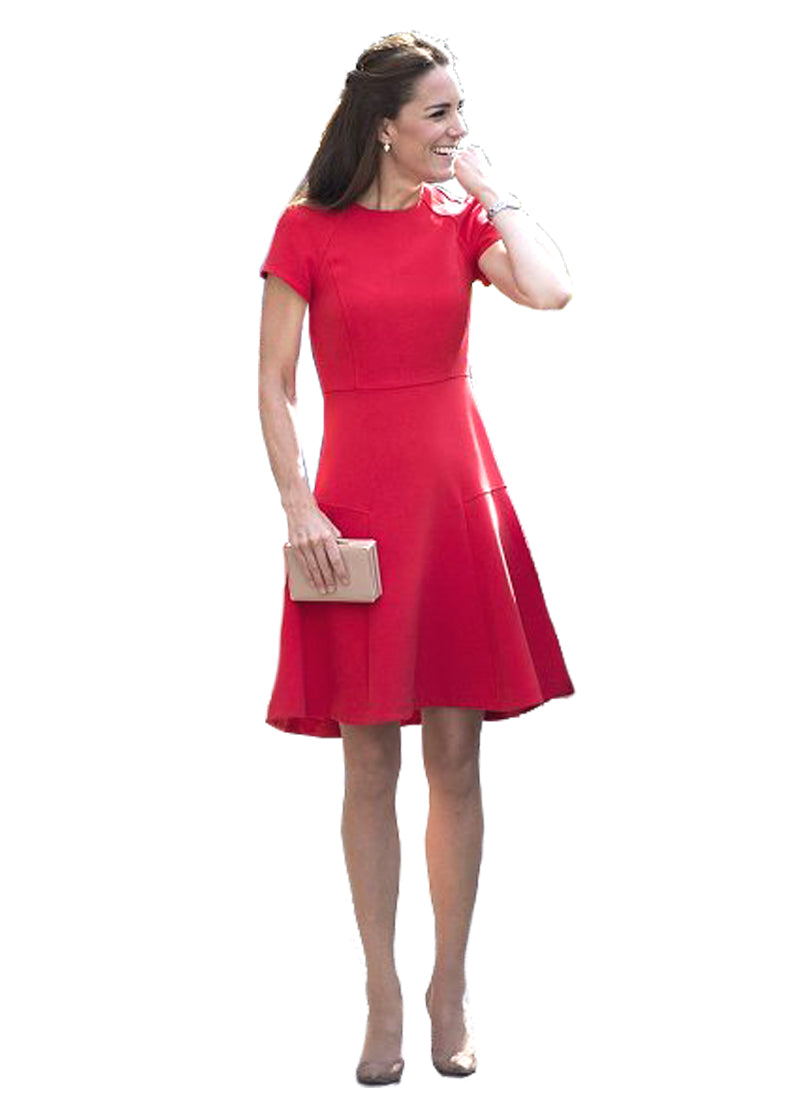 Kate Bright Red Panel Fit-And-Flare Dress