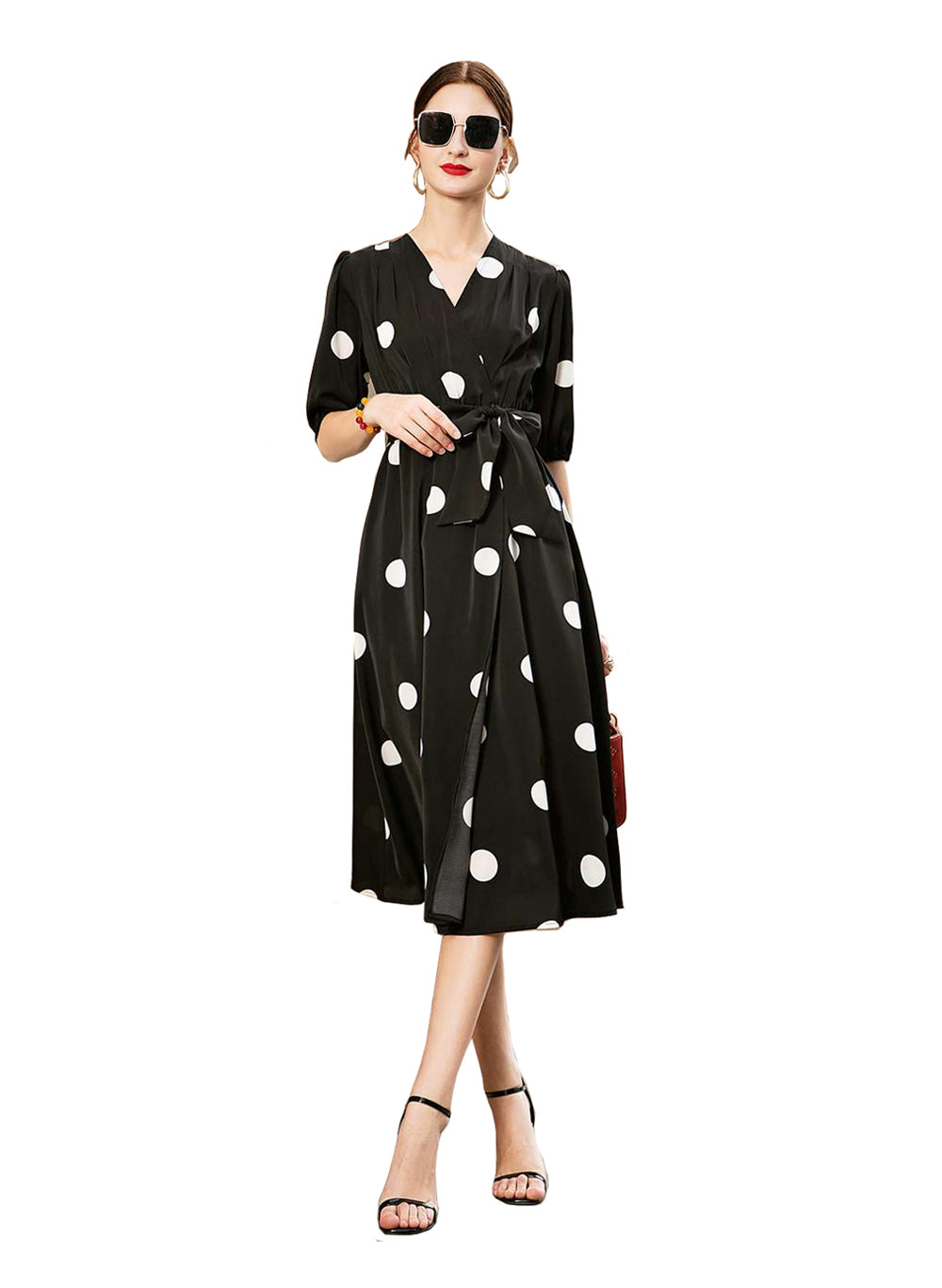 DOAB Polka Dot Print Short Sleeve Wrap Style Midi Dress in Black