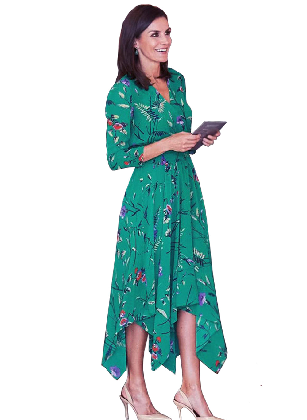 Queen Letizia V-neck Shirred Waist Asymmetric Midi Dress in Floral Print