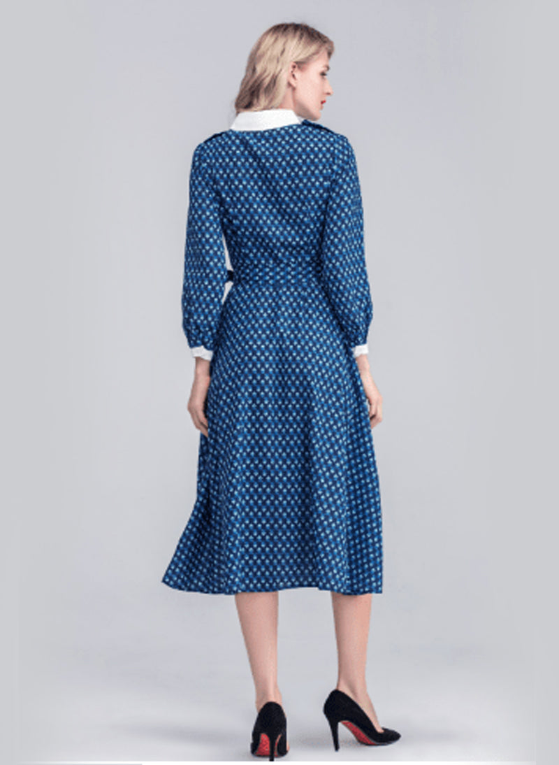Princess Mary Geo Printed Belted Flared Midi Dress in Dark Blue