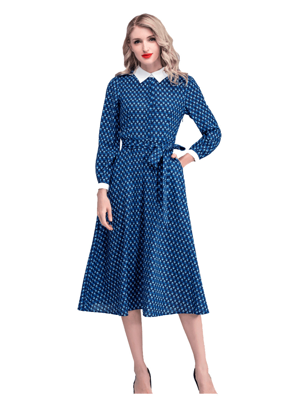 Kate Geo Printed Belted Flared Midi Dress in Dark Blue