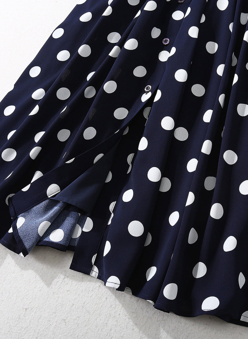 Kate Button-Down Pleated Polka-dot Belted Shirtdress in Navy