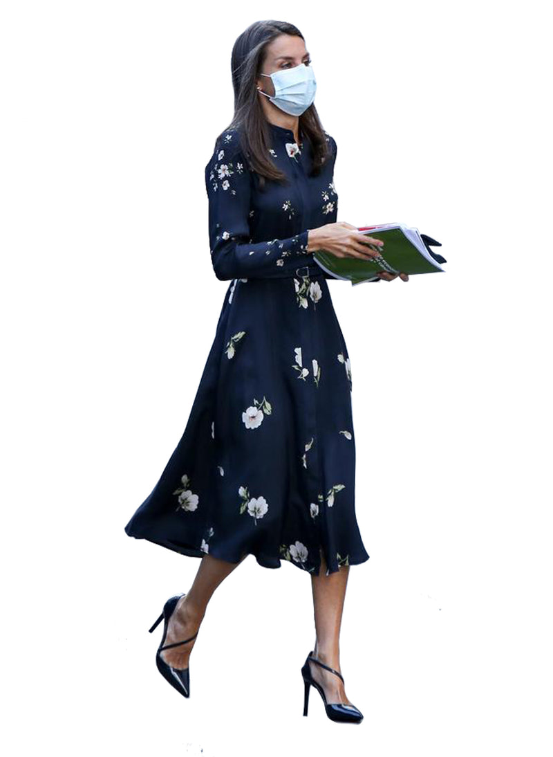 Queen Letizia Floral Print A-line Shirt Dress in Navy
